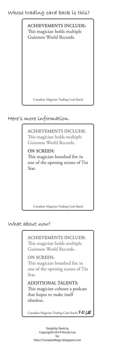 Sleightly Sketchy: Magician trading cards [MTC190721]